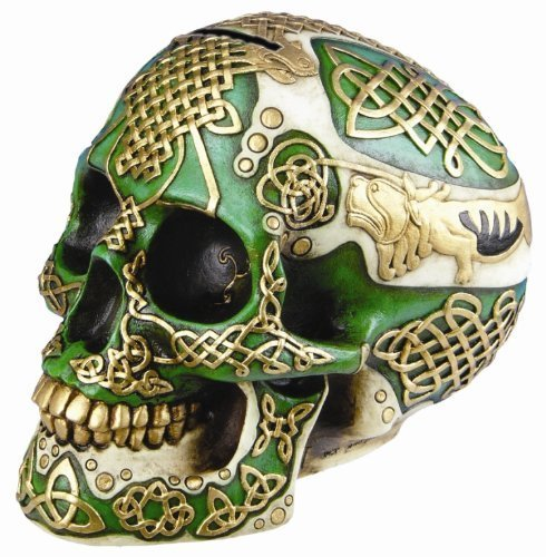 Celtic Green Lion Tribal Knot Tattoo Coat of Arms Skull Money Bank Figurine Coin