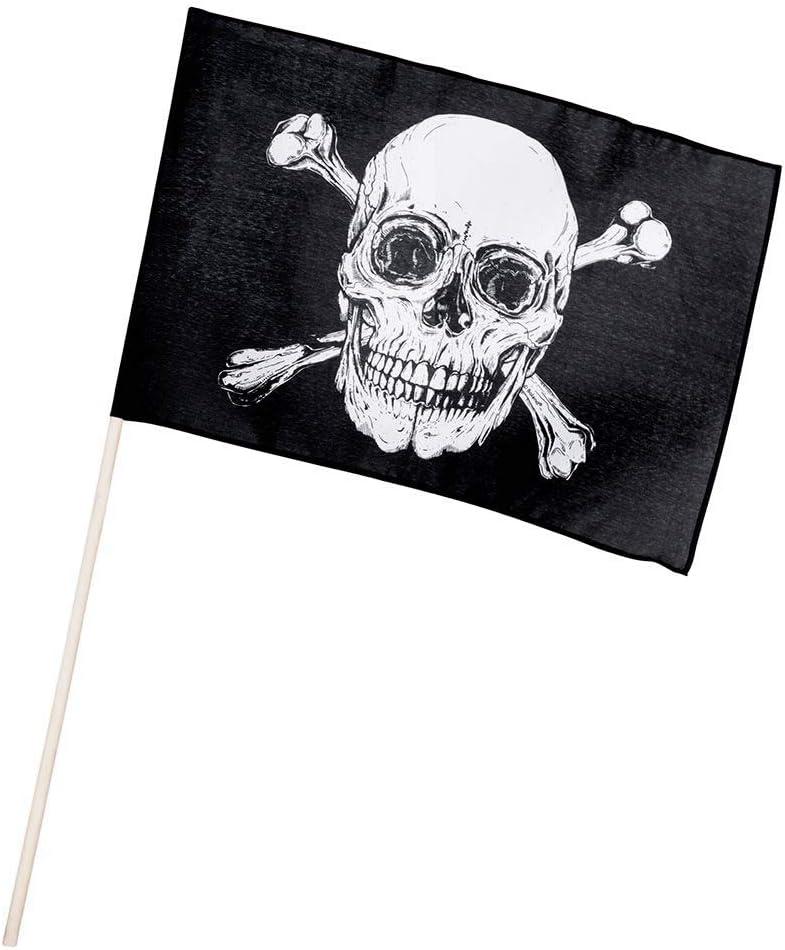 Boland 74163 – Bandera pirata 45 x 30 cm con barra, negro/blanco: Amazon.es: Juguetes y juegos