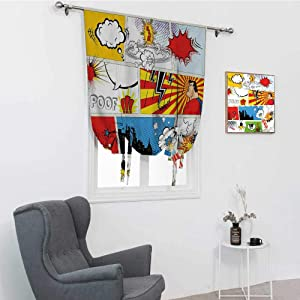 "GugeABC Superhero Bathroom Window Curtain, Comics Template Fiction Fantasy Retro Speech Bubbles Expressions Effects Print Rod Pocket Panel, Multicolor, 42"" x 72"""