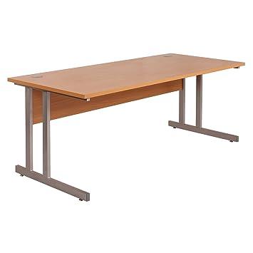 sturdy office desk. bimi rectangular workstation beech office desk width 100cm steel cantilever legs sturdy