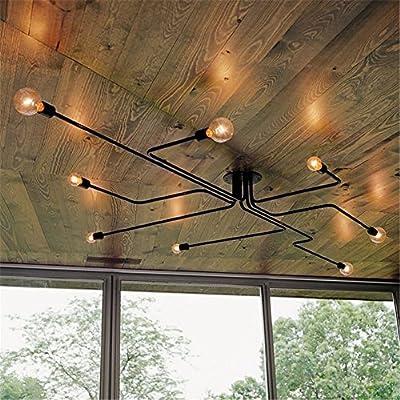 OYI Vintage Industrial Retro Style Wrought Iron Large Semi Flush Ceiling Light Lamp use 8 E26/27 Edison Bulbs