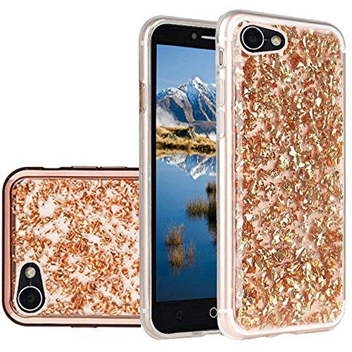 Alcatel PULSEMIX 5085C Case (eAccessories) RoseGold Utra-Stylish Cover Frozen Glitter with Electroplated Chrome Bumper Edges for Alcatel PULSEMIX 5085C wih eAccessories Gift Bag