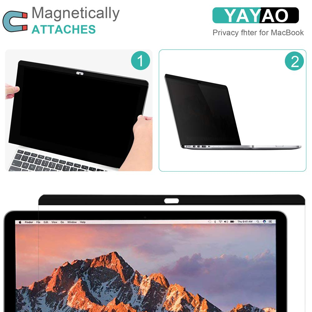 Late 2016-2018 Version: A1707//A1990 Models YAYAO 15 inch Magnetic Privacy Screen Protector Anti-Spy//Glare Filter Compatible MacBook Pro 15.4