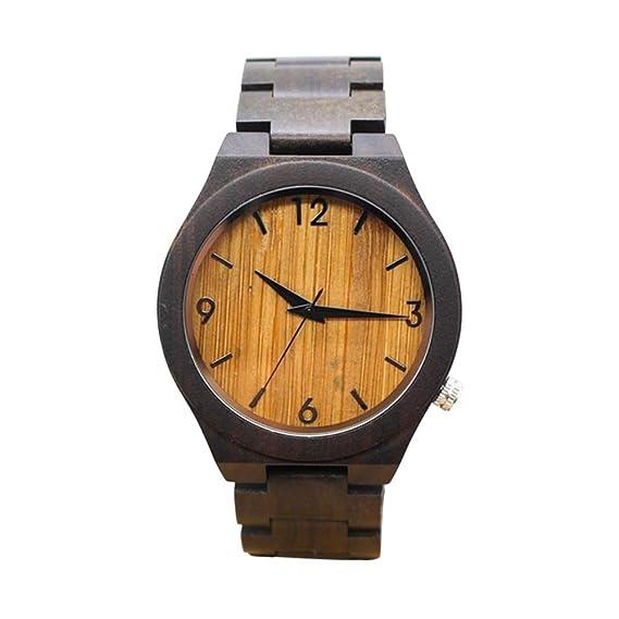 Dxlta Moda Hombres Relojes de Madera Correa de Madera Reloj Casual Reloj de Cuarzo (4