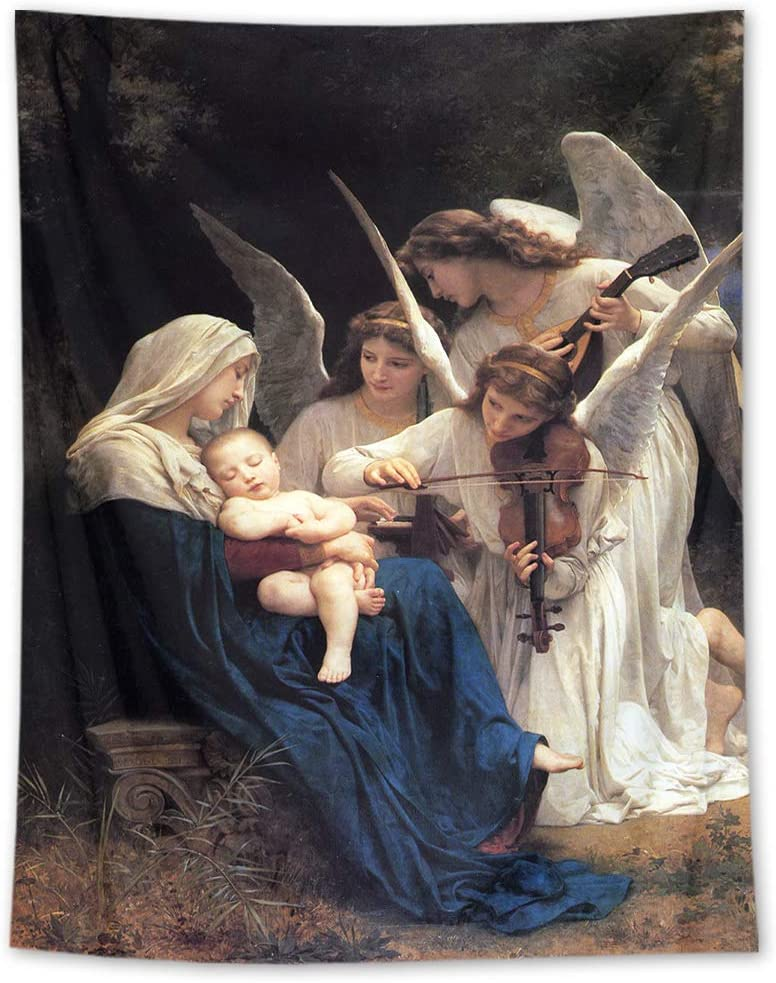 HVEST Christian Tapestry Wall Hanging Angels Play The Violin Wall Tapestry Sleepy Baby in Blessed Mary Arms Tapestry Christmas Tapestry Wall Hanging for Bedroom Room Dorm Decor, 70.9Wx92.5H inches