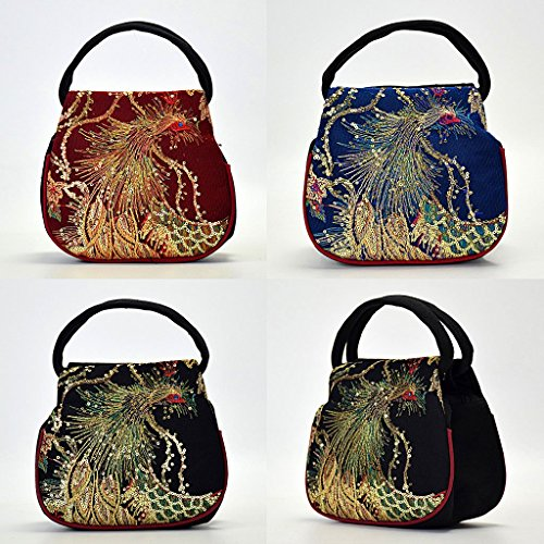 Case JAGENIE Embroidery Pouch Women Canvas Ethnic Blue Peacock Phone Handbag Retro Black Bag Small rqtqxvwZ