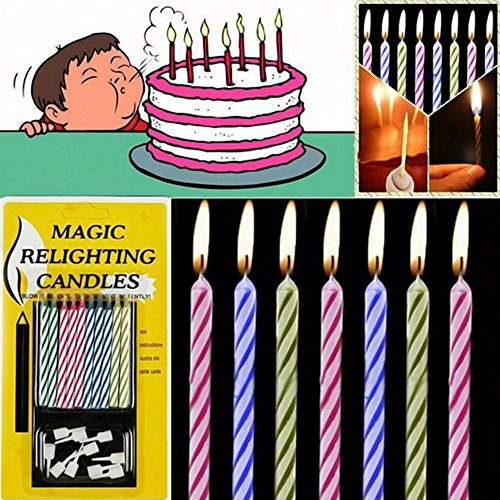 DICPOLIA Toys 10Pcs Magic Trick, Relighting Candle Birthday Cake Decors Party Joke Xmas Gift Funny (As -