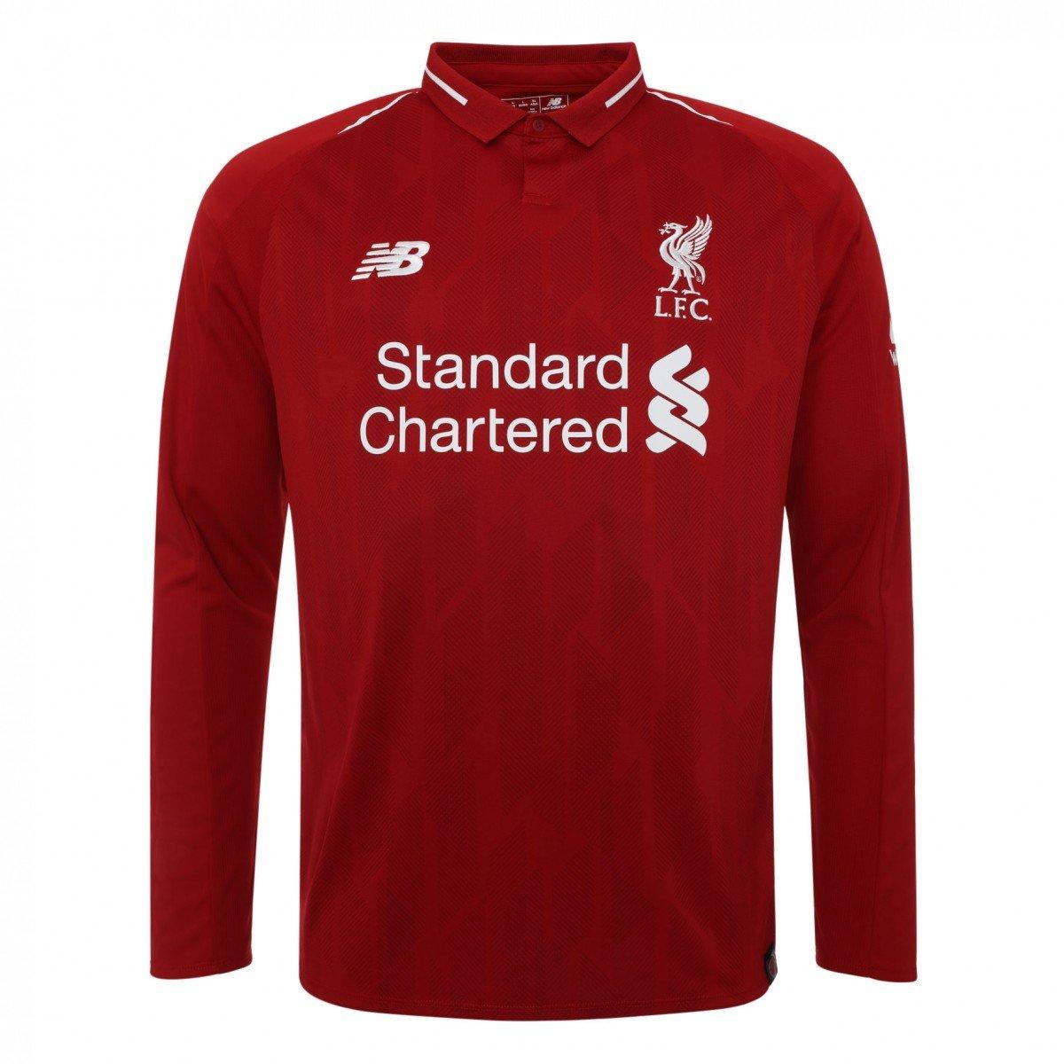 42ae368ed Amazon.com : 2018-2019 Liverpool Home Long Sleeve Football Soccer T-Shirt  Jersey (Virgil Van Dijk 4) : Sports & Outdoors
