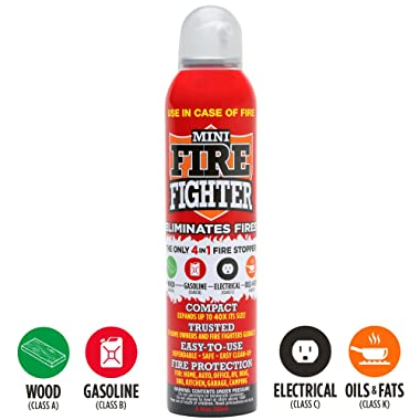 Mini Firefighter All Purpose Fire Extinguisher CLASSES ABCK Gasoline, Kitchen Grease Oil and Fats, Electric and Wood Fires For Home Apartment Office Boat RV Camping, 1-pack
