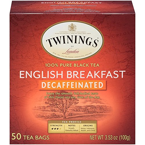 Twinings of London Decaffeinated English Breakfast Herbal Tea Bags, 50 Count