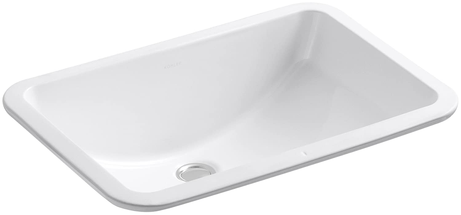 Kohler 2214-G-0 Vitreous china undermount Rectangular Bathroom Sink, 22.5 x 16.19 x 9.31 inches, White
