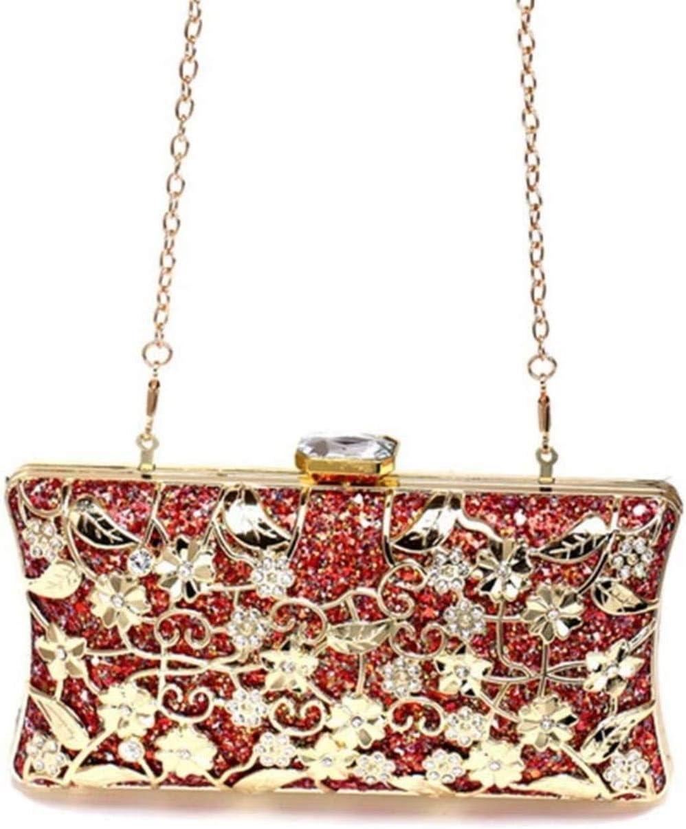 Women's Metal Sequins Evening Clutch Bag Hollow Pattern Banquet Bag Bridal Shoulder Handbag Crossbody Bags Red/Blue/Gold/Silver Beautiful Life Red),Colour:Blue (Color : Gold) Red