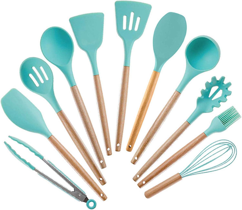 Mango de madera de silicona, utensilios de cocina, 11 juegos de cucharas de silicona antiadherentes para huevo, cocina doméstica, herramienta para barbacoa, color verde