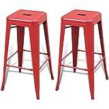 vidaXL Lot de 2 Tabourets Bar hauts Rouges 4 pieds