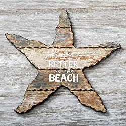 Fashioncraf Life is Better at The Beach Weathered Wood Starfish Plaque Sign Home Kitchen Living Room Decor 14x15 Inch