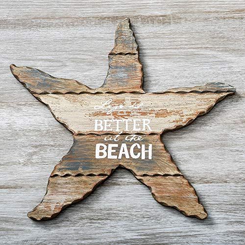 (Fashioncraf Life is Better at The Beach Weathered Wood Starfish Plaque Sign Home Kitchen Living Room Decor 14x15 Inch)