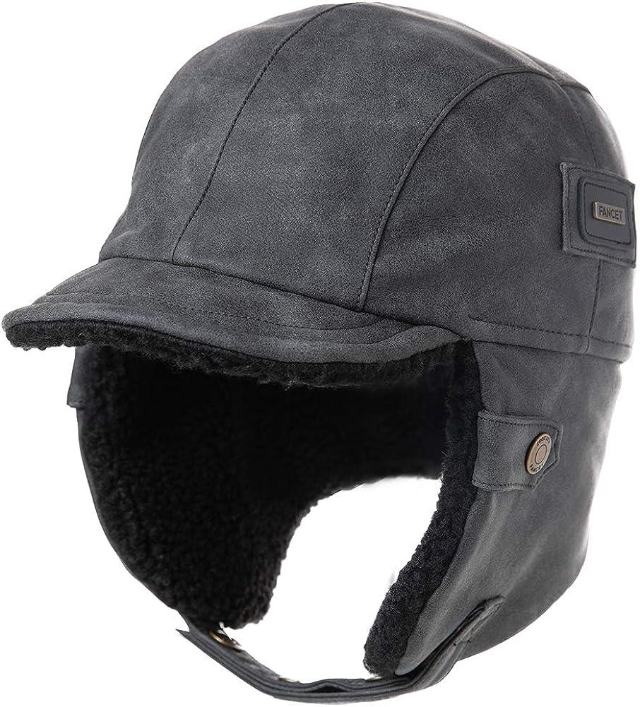 Fancet - Gorro unisex de invierno para piloto de aviador, orejeras de caza, caza, gorro de esquí, nieve, impermeable, piel sintética, algodón encerado