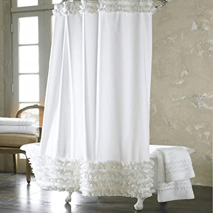 Uphome 72x72 Inch Solid White Ruffles Shower Curtain Liner Water Repellent Mildew