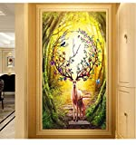 NACHEN Elk 5d Diamond Painting Full Drill Cross Stitch Embroidered for The Living Room Paintings, Color 1, 60x90cm