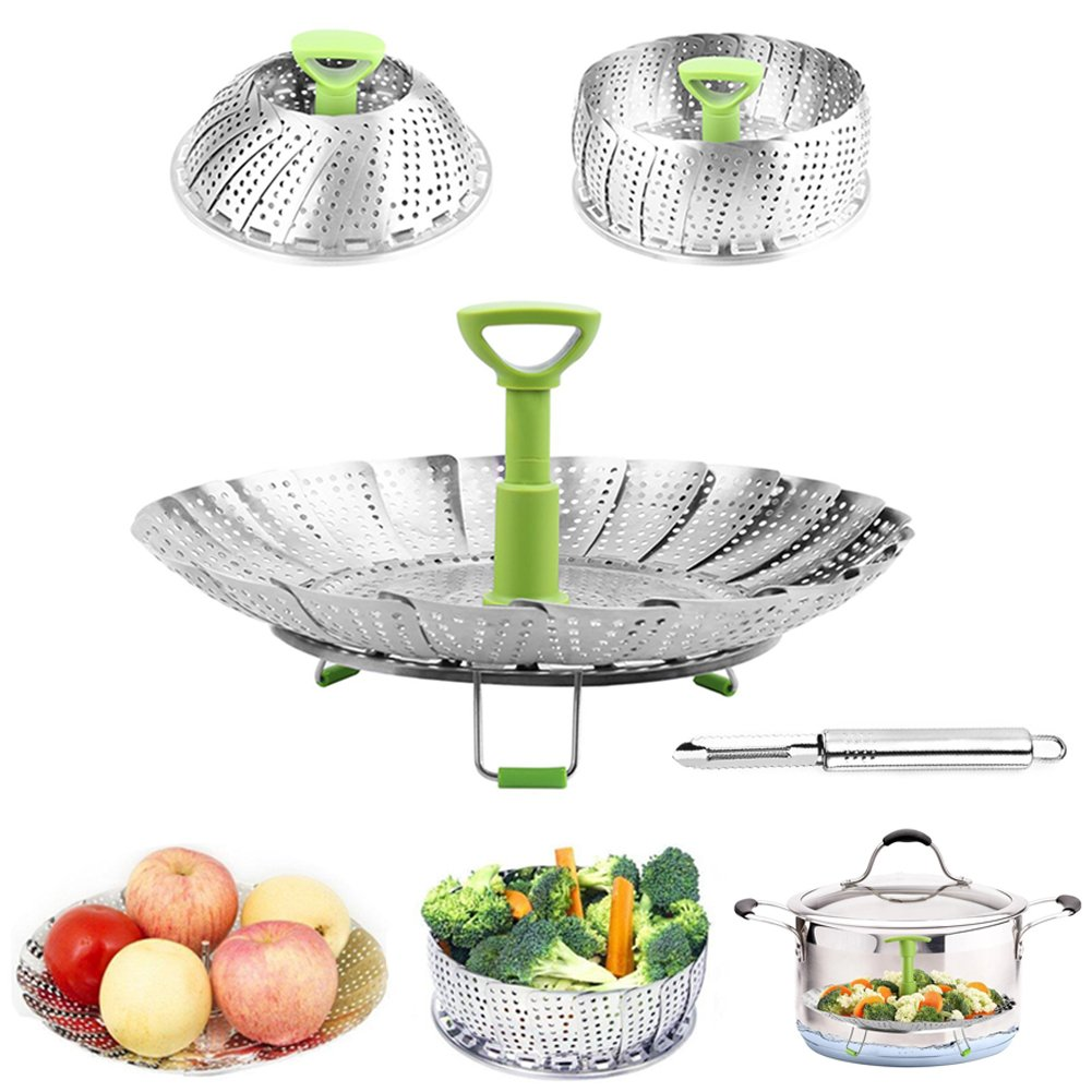 Steamer Basket Vegetable Basket Folding Steamer Expandable to Fit Various Size Pressure Cooker Veggie Fish Seafood Cooking and Stainless Steel Peeler Botenvin