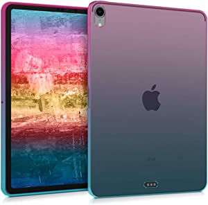 """kwmobile TPU Silicone Case Compatible with Apple iPad Pro 11"""" (2018) - Soft Flexible Shock Absorbent Cover - Bicolor Dark Pink/Blue/Transparent"""