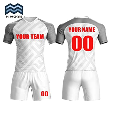 c4fcba9355f M-W Sports Custom Jerseys Soccer Team Jersey Sportwear Grey and Red Design  Your Own Idea unifroms