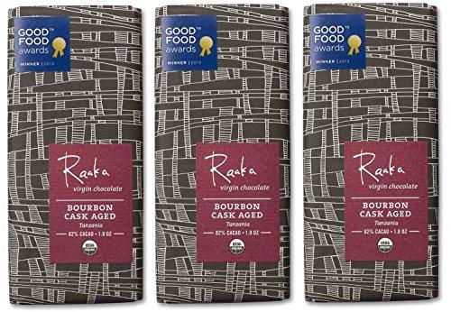 Raaka Chocolate Bourbon Cask Aged Dark Chocolate 82% Cacao (1.8oz Bar - 3 Pack), Organic, Non-GMO, Kosher Premium Craft Chocolate, Vegan, Gluten and Soy Free, Bittersweet, Bean-to-Bar Chocolate Aged Chocolate Candy
