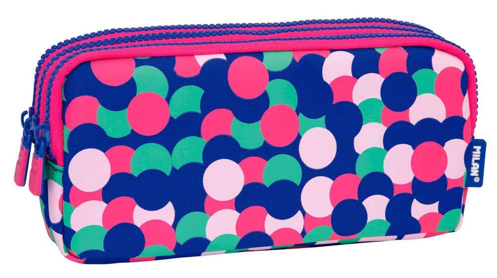 MILAN Portatodo 3 Cremalleras Dotty Estuches, 22 cm, Rosa