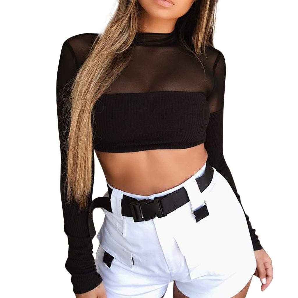 Bohelly Selling Women Sexy Mesh Perspective Long Sleeve Short Top Plain Crop Blousers Black
