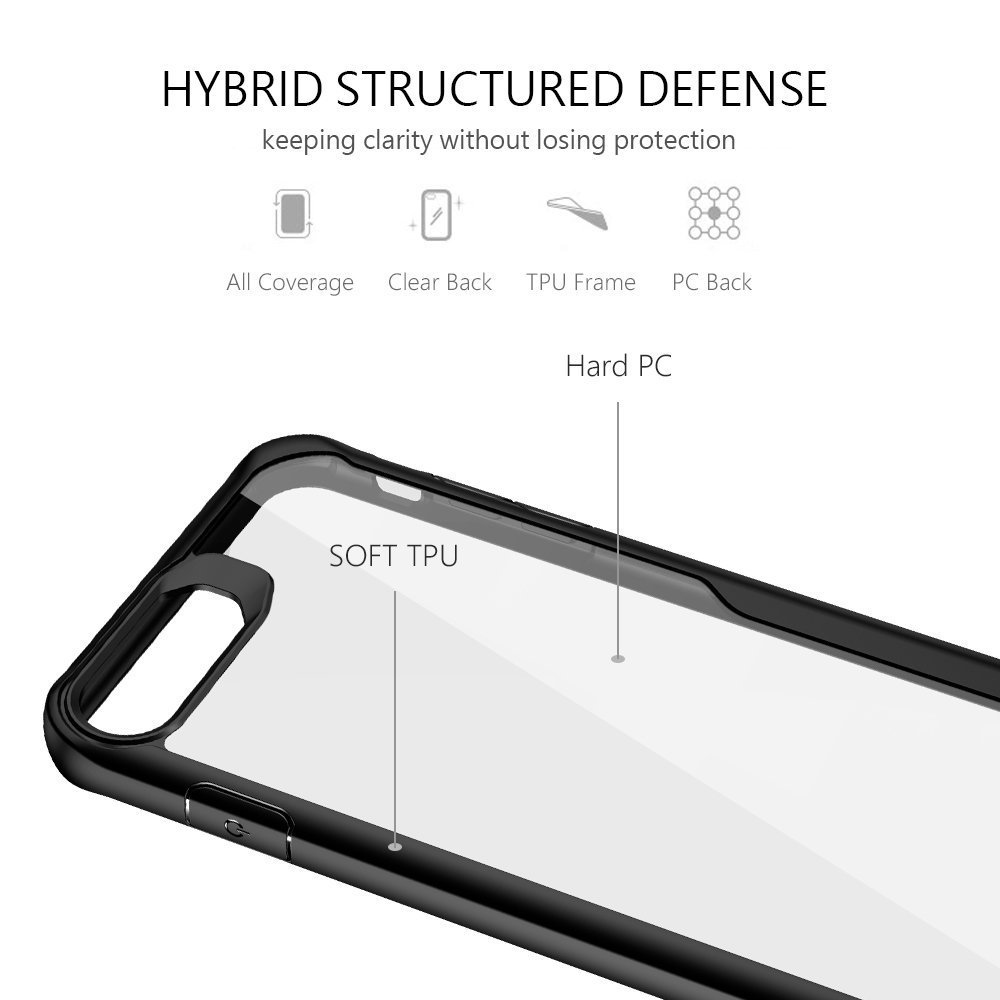 Clear iPhone 7 case,VIEE iphone 7 case Slim Fit Soft TPU Rubber Bumper with Clear PC Hard Back Protective Shockproof Cover for iPhone 6 /6s/7/8 4.7 inch (Black)