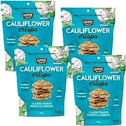 Hippie Snacks Gluten Free, Non-GMO Cauliflower Crisps - Classic Ranch, 4 x 70 gram pack