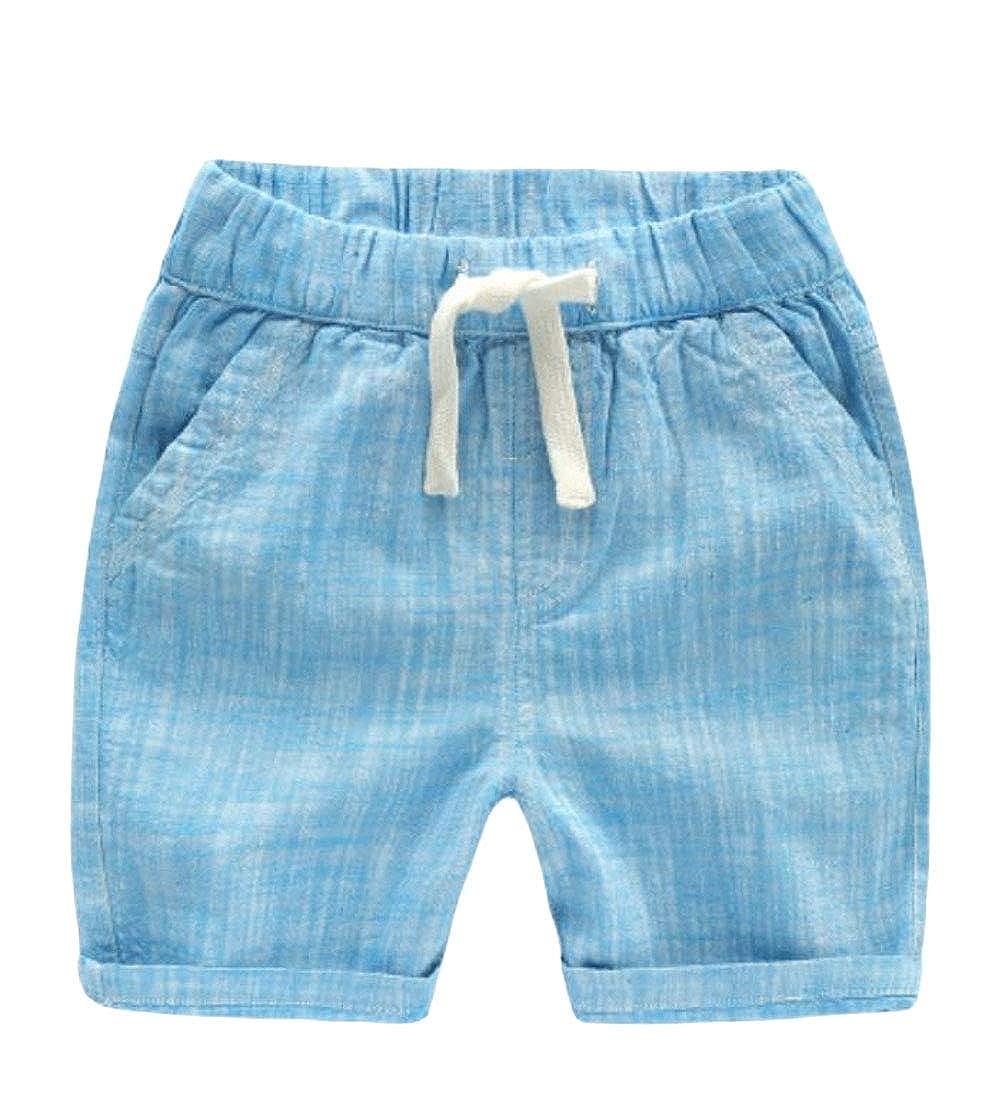 Sweatwater Boy Solid Color Elastic Waist Vogue Breathable Short Pants