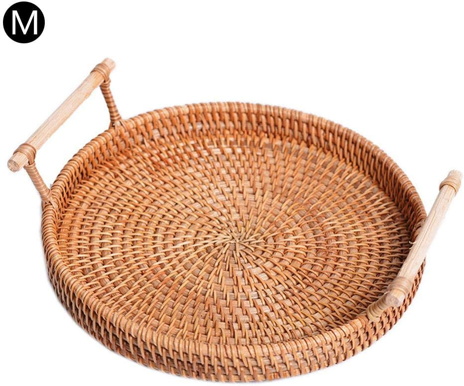 Round Cracker Tea Storage Tray Bread Basket Woven Tea Trays Rattan Woven Storage Snack Fruit Platter with Handle for Serving Dinner Parties Coffee Breakfast