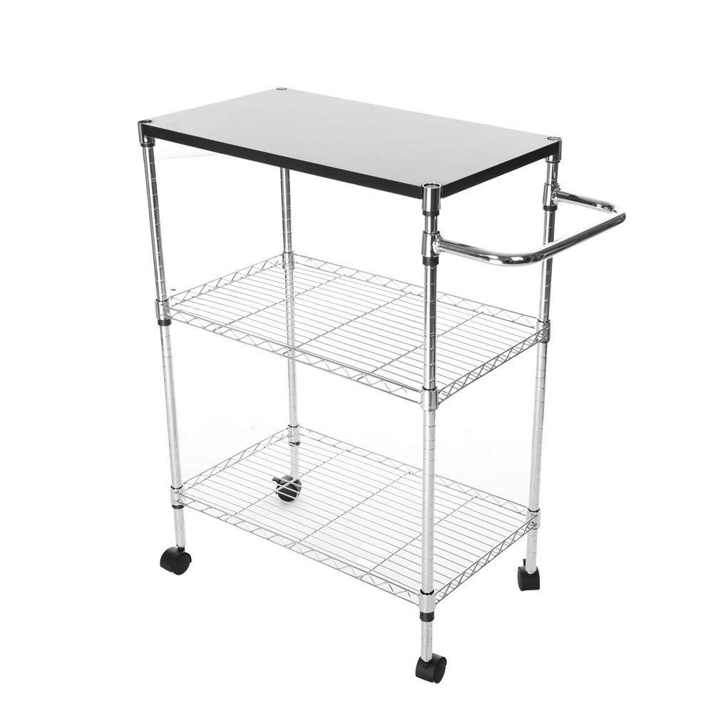 Jieson Silver Multi-Function Wheeled Wood Board Desktop MDF Board Stainless Steel Shelf Cart Storage Rack Kitchen Supplies Storage Rack 60x35x80cm by Jieson