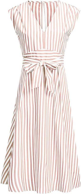 Battnot damska sukienka, elegancka sukienka do kolan, sukienka robocza z nadrukiem w paski, z dekoltem w kształcie litery V, bez rękawÓw, na imprezę, seksowna letnia sukienka koktajlowa w stylu retro, suki
