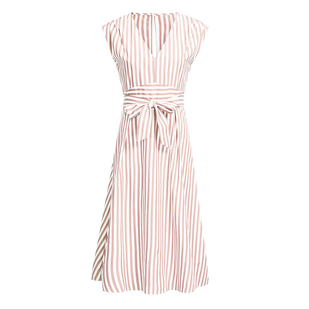 TIFENNY Women Casual Stripe Printing Off Shoulder Sleeveless Dress 2019 V Neck Princess Dress with Belt Pink