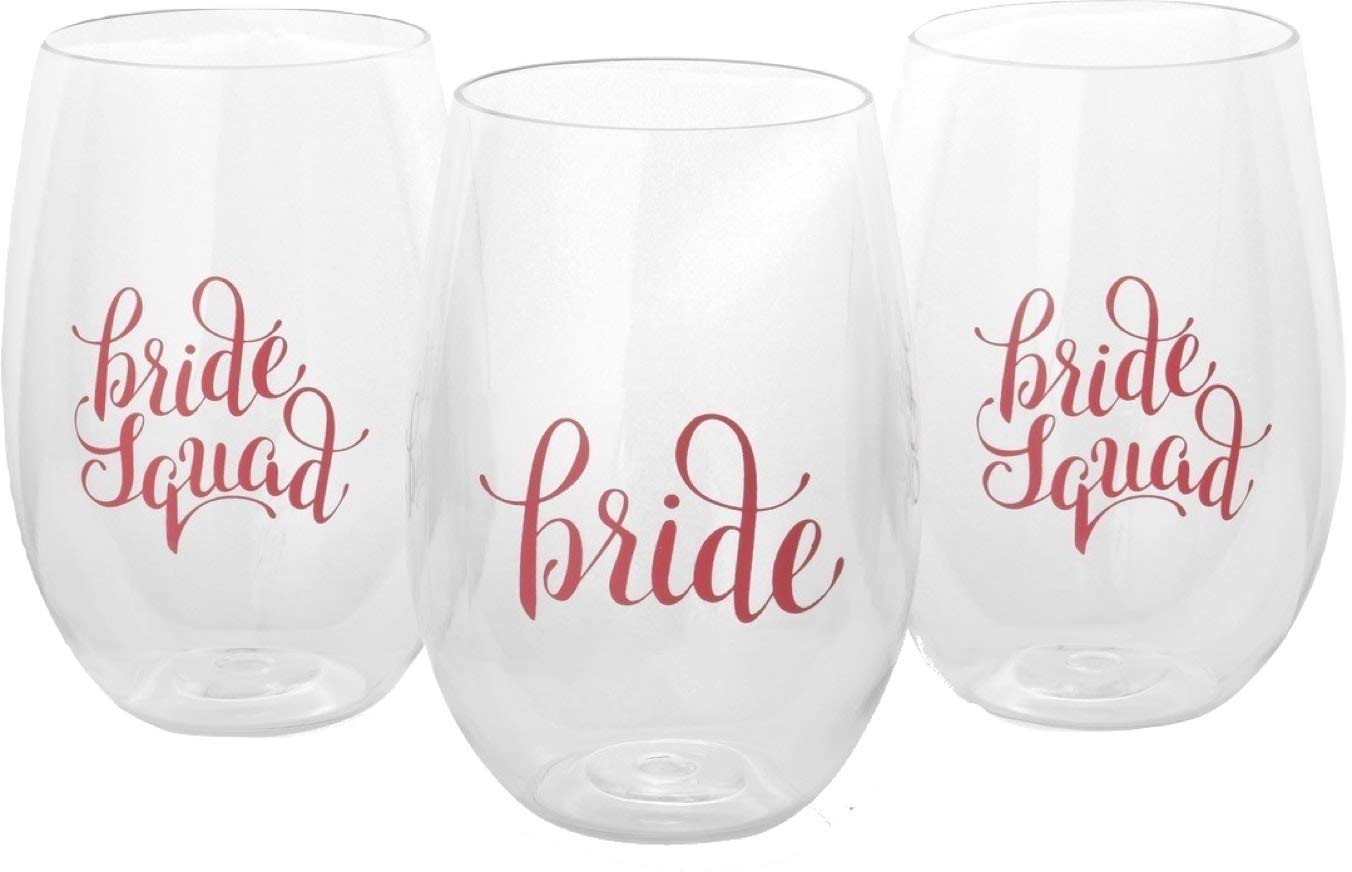 Bachelorette Party Cups - 8 Piece Set of Bride Squad and Bride - Durable Plastic Stemless Wine Cups for Bachelorette Parties, Decorations, Weddings, Gifts, Bridal Showers, and Engagement Parties