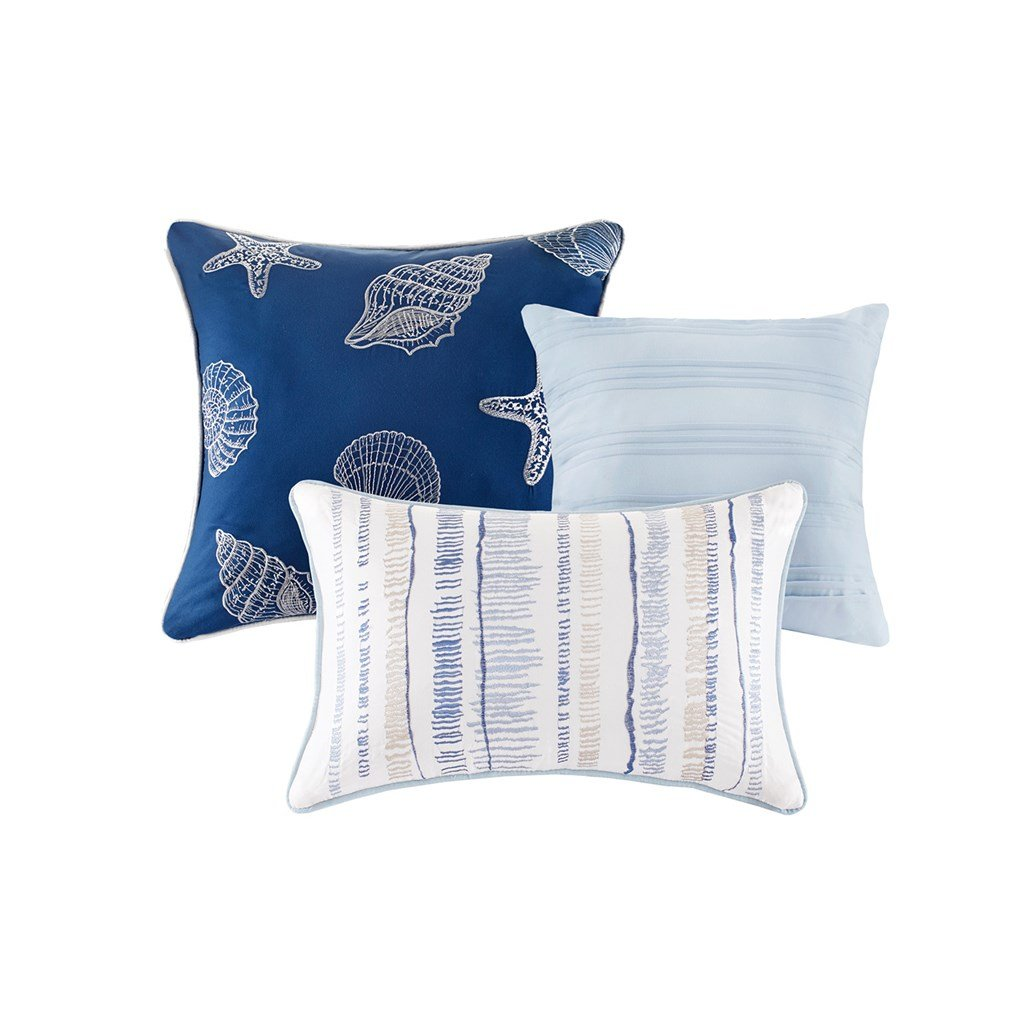 Blue Watercolor, Cottage, Beach House, Coastal CAL King Quilt Shams & Toss Pillows (6 Piece Bed In A Bag) + HOMEMADE WAX MELT