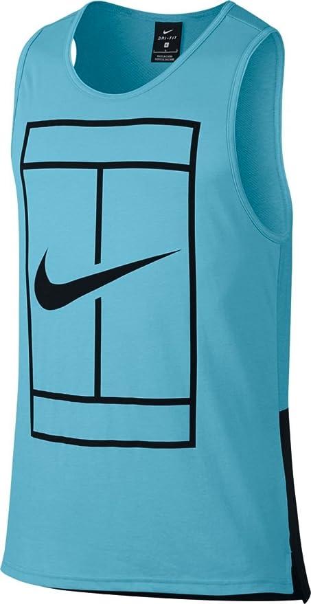 Nike M Nkct Tank Baseline Camiseta sin Mangas de Tenis, Hombre, Azul (Vivid