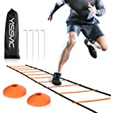 Agility Ladder and Cones 20 Feet 12 Adjustable Rungs Fitness Speed Training Equipment + 20 Feet Speed Agility | 1 Carry Bags + 10 Cones + 4 Stakes | Basketball, Soccer, Football (Orange)