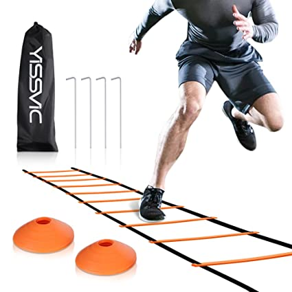 211905f1b YISSVIC Agility Ladder and Cones 20 Feet 12 Adjustable Rungs Fitness Speed  Training Equipment + 20 Feet Speed Agility | 1 Carry Bags + 10 Cones + 4  Stakes ...