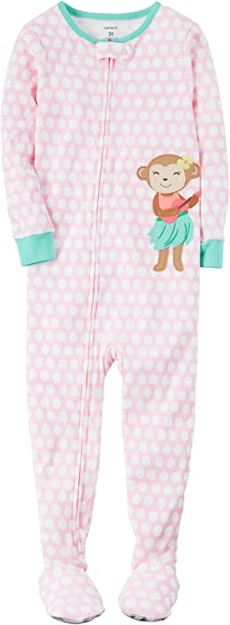 ed974c3f3 Amazon.com  Carter s Baby Girls  1-Piece Monkey Pajamas 12 Month ...