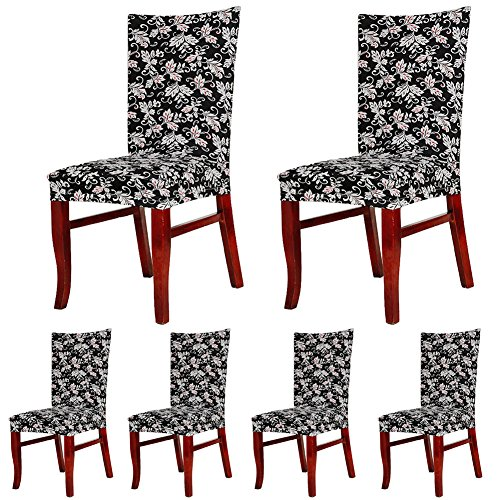 ColorBird Spandex Fabric Chair Slipcovers Removable Universal Stretch Elastic Chair Protector Covers for Dining Room, Hotel, Banquet, Ceremony (Set of 6, Black/White Scroll Flower)