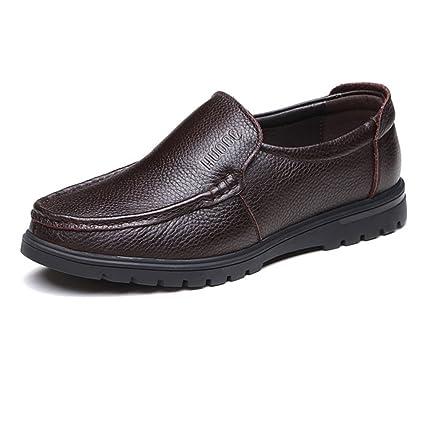 Ruiyue Zapatos Mocasines para Hombres, Cuero Genuino de Cuero de Vaca Superior sin Cordones con