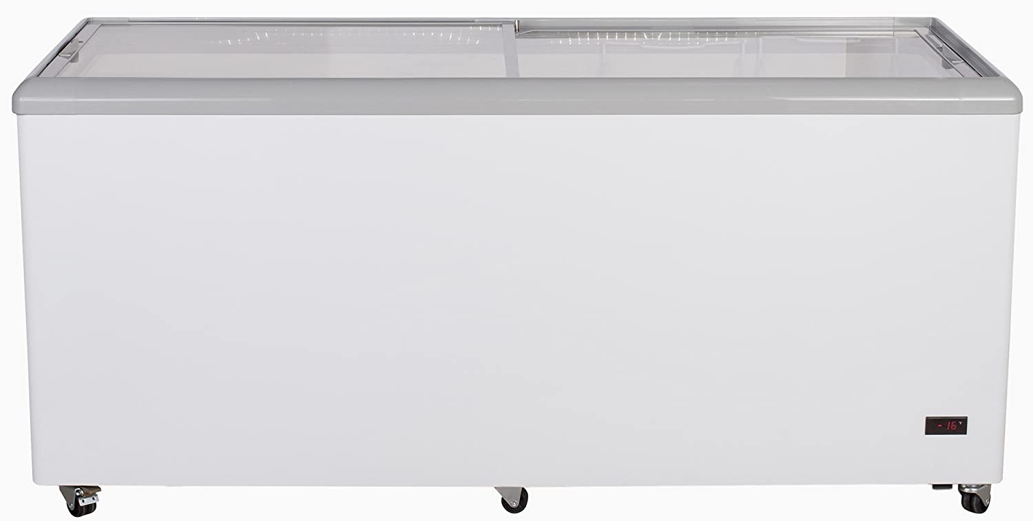 Chef's Exclusive CE206 Commercial Frost Free Sub Zero Mobile Ice Cream Display Chest Freezer 20 Cubic Feet Flat Glass Lid Top with Wire Baskets, 71 Inch Wide, White