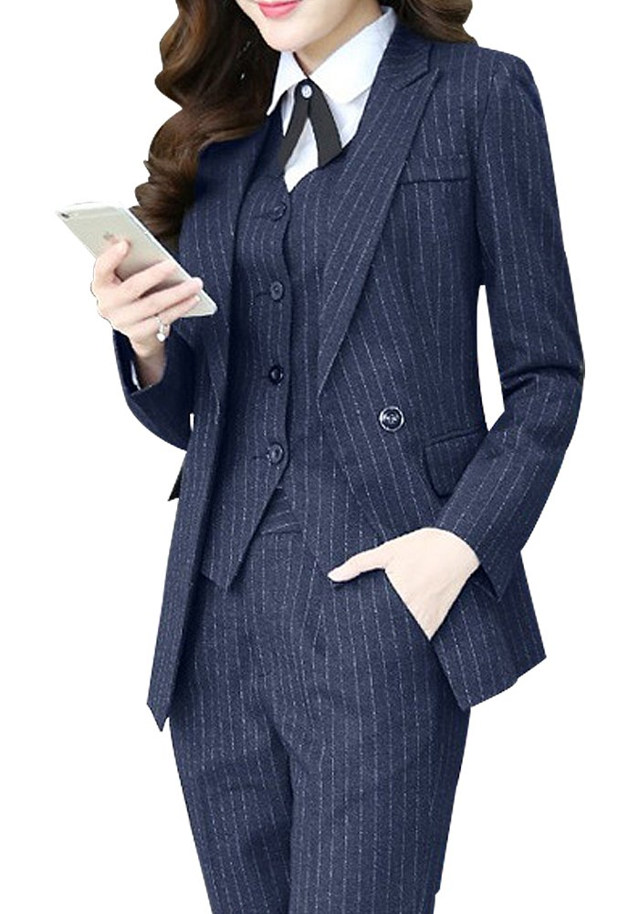 Women's Three Pieces Office Lady Stripe Blazer Business Suit Set Women Suits for Work Skirt/Pant,Vest and Jacket
