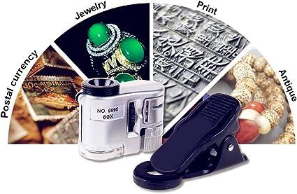 YMM Lupa Cristal Bolsillo Microscopio Phone LED 60X,Lente Vidrio ...