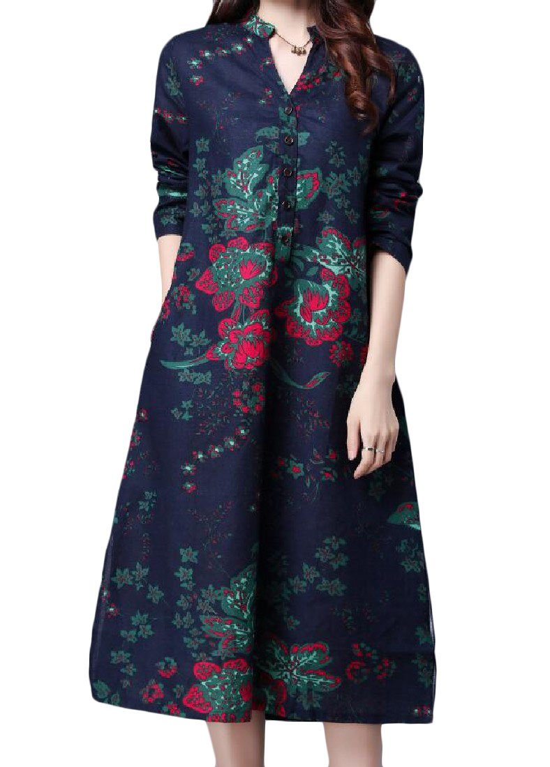 ANDYOU Womens Folk Style Pockets Linen Cotton Chinese style Long Dresses Blue XL