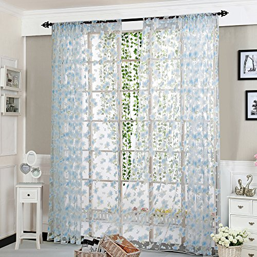 (Curatin Rod - 1 Panel Fabric Solid Flower Sheer Curtains Window Elegance Curtains Tulle Window Treatment Voile Drape Valance for Kitchen, Bedroom, Windows & Bathroom, 200cm x 100cm (L x W) (Blue))