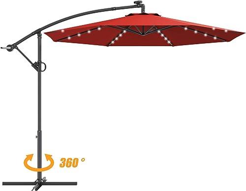 Tangkula 10 FT Patio Offset Umbrella with 360 Degree Rotation, Solar Powered LED Umbrella with Crank Handle Cross Base, Outdoor Market Umbrella with Aluminum Pole Burgundy